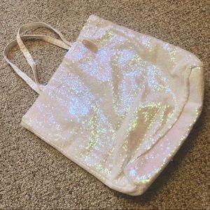 Victoria's Secret White Rainbow Sequin Glitter Bag